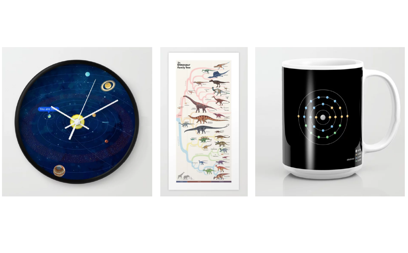 Graphic showing a clock made from the Solar System, a poster made from a dinosaur family tree, and a mug made from a Uranium atom.